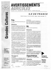 Avertissements Agricoles - Grandes cultures - Ile de France - 2000 - 18