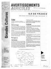 Avertissements Agricoles - Grandes cultures - Ile de France - 2000 - 28