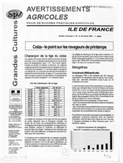 Avertissements Agricoles - Grandes cultures - Ile de France - 2006 - 2