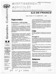 Avertissements Agricoles - Grandes cultures - Ile de France - 2006 - 30