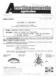 Avertissements Agricoles - Grandes cultures - Languedoc Roussillon - 1986 - 3
