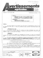 Avertissements Agricoles - Grandes cultures - Lorraine - 1987 - 6