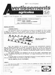 Avertissements Agricoles - Grandes cultures - Lorraine - 1987 - 21