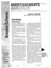 Avertissements Agricoles - Grandes cultures - Lorraine - 1998 - 25