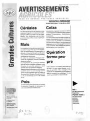 Avertissements Agricoles - Grandes cultures - Lorraine - 2000 - 15