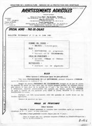 Avertissements Agricoles - Grandes cultures - Nord Pas de Calais - 1985 - 16