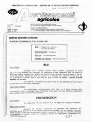 Avertissements Agricoles - Grandes cultures - Nord Pas de Calais - 1987 - 7