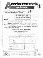 Avertissements Agricoles - Grandes cultures - Nord Pas de Calais - 1989 - 22