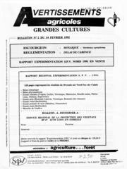 Avertissements Agricoles - Grandes cultures - Nord Pas de Calais - 1992 - 2