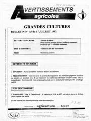 Avertissements Agricoles - Grandes cultures - Nord Pas de Calais - 1992 - 15