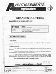 Avertissements Agricoles - Grandes cultures - Nord Pas de Calais - 1992 - 17