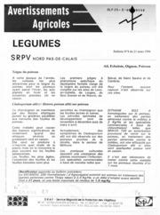 Avertissements Agricoles - Grandes cultures - Nord Pas de Calais - 1996 - 2