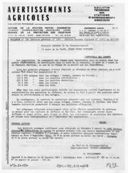 Avertissements Agricoles - Grandes cultures - Poitou Charentes - 1981 - 1