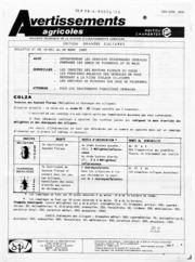 Avertissements Agricoles - Grandes cultures - Poitou Charentes - 1985 - 6