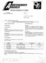 Avertissements Agricoles - Grandes cultures - Poitou Charentes - 1996 - 20