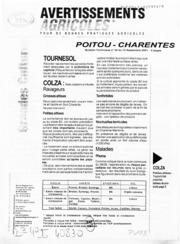 Avertissements Agricoles - Grandes cultures - Poitou Charentes - 2001 - 25