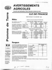 Avertissements Agricoles - Pomme de terre - Ile de France - 2006 - 10
