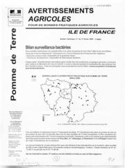Avertissements Agricoles - Pomme de terre - Ile de France - 2008 - 1