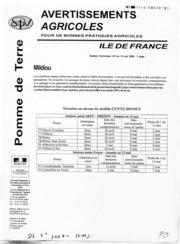Avertissements Agricoles - Pomme de terre - Ile de France - 2008 - 6