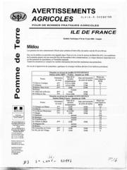 Avertissements Agricoles - Pomme de terre - Ile de France - 2008 - 11