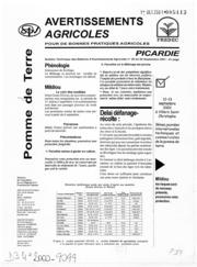 Avertissements Agricoles - Pomme de terre - Picardie - 2001 - 25