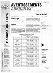 Avertissements Agricoles - Pomme de terre - Picardie - 2006 - 7