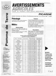 Avertissements Agricoles - Pomme de terre - Picardie - 2006 - 12