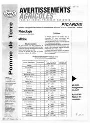 Avertissements Agricoles - Pomme de terre - Picardie - 2006 - 13