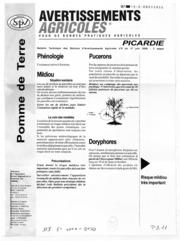 Avertissements Agricoles - Pomme de terre - Picardie - 2008 - 8