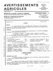 Avertissements Agricoles - Toutes cultures - Alsace Lorraine - 1981 - 8