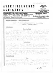 Avertissements Agricoles - Toutes cultures - Aquitaine - 1981 - 2