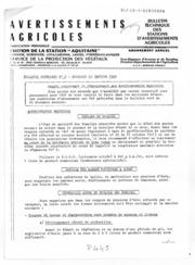 Avertissements Agricoles - Toutes cultures - Aquitaine - 1982 - 2