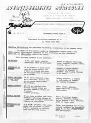 Avertissements Agricoles - Toutes cultures - Aquitaine - 1983 - 15