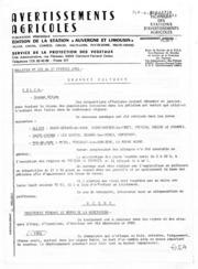 Avertissements Agricoles - Toutes cultures - Auvergne Limousin - 1981 - 3