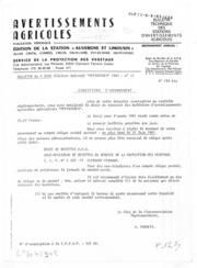 Avertissements Agricoles - Toutes cultures - Auvergne Limousin - 1981 - 31