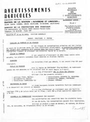Avertissements Agricoles - Toutes cultures - Auvergne Limousin - 1982 - 10