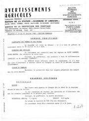 Avertissements Agricoles - Toutes cultures - Auvergne Limousin - 1982 - 23