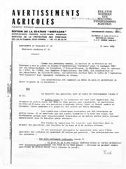Avertissements Agricoles - Toutes cultures - Bretagne - 1982 - 6