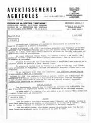Avertissements Agricoles - Toutes cultures - Bretagne - 1982 - 17