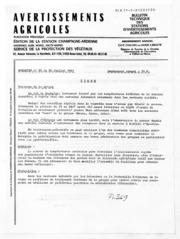 Avertissements Agricoles - Toutes cultures - Champagne Ardenne - 1981 - 25