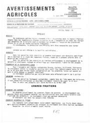 Avertissements Agricoles - Toutes cultures - Corse - 1982 - 8