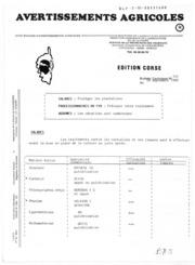 Avertissements Agricoles - Toutes cultures - Corse - 1989 - 14