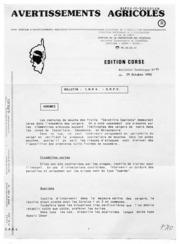 Avertissements Agricoles - Toutes cultures - Corse - 1992 - 11