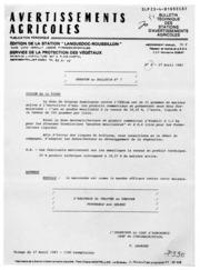 Avertissements Agricoles - Toutes cultures - Languedoc Roussillon - 1981 - 10