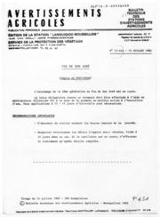 Avertissements Agricoles - Toutes cultures - Languedoc Roussillon - 1982 - 15