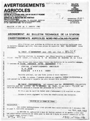Avertissements Agricoles - Toutes cultures - Nord Pas de Calais Picardie - 1982 - 1