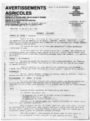Avertissements Agricoles - Toutes cultures - Nord Pas de Calais Picardie - 1982 - 16