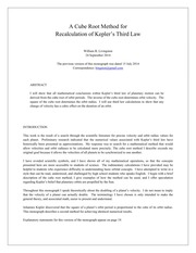 A Cube Root Method For Recalculation Of Kepler-s Third Law