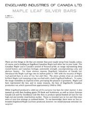 Engelhard Canadian Maple Leaf Silver Bars