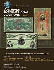 U.S., Chinese & Worldwide Banknotes, Scripophily and Coins